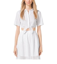 Michael Kors Eyelet Tie Waist Cropped Top White