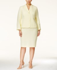 Le Suit Plus Size Three Button Tweed Skirt Suit Yellow
