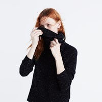 Madewell Cashmere Convertible Turtleneck Sweater Donegal Ebony