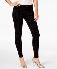 Hue Flocked Houndstooth Denim Leggings Black