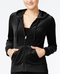 Hippie Rose Juniors' Zip Front Velour Hoodie Black