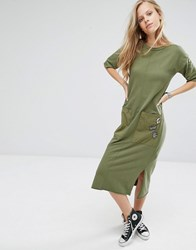 Pull And Bear Pullandbear Midi T Shirt Dress With Pockets In Khaki Khaki Green