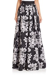 Carmen Marc Valvo Floral Ball Skirt Black Ivory