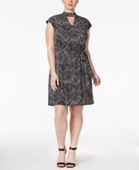 Inc International Concepts Plus Size Chevron Print Shift Dress Only At Macy's Deep Black