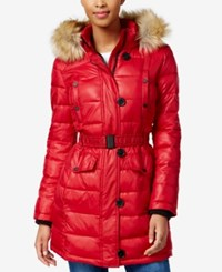 Bar Iii Faux Fur Trim Quilted Puffer Coat Only At Macy's Red