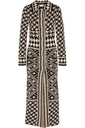 Temperley London Jacquard Knit Merino Wool Coat Black