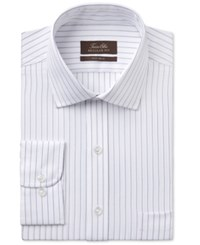 Tasso Elba Men's Classic Fit White Striped Dress Shirt Only At Macy's