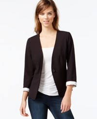 Kensie Three Quarter Sleeve Collarless Blazer Black