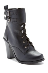 Charles Albert Chunky Heel Lace Up Boot Black