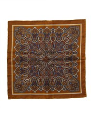 Paul Costelloe Bronze Ornate Paisley Pocket Square Metallic