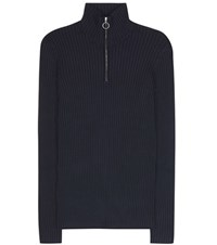 Wood Wood Blair Ribbed Turtleneck Sweater Blue