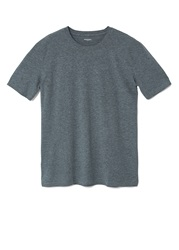 Mango Plain Crew Neck Regular Fit T Shirt Grey