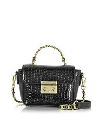 Roccobarocco Mini Croco Embossed Eco Leather Shoulder Bag Black