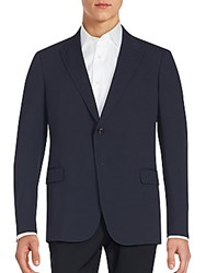Armani Collezioni Long Sleeve Solid Blazer Sea Blue
