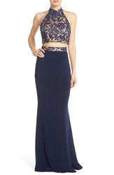 Women's Faviana Embellished Jersey Two Piece Gown