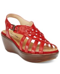 Bare Traps Dayna Platform Wedge Sandals Women's Shoes Red