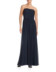 Vera Wang Strapless Ruched Gown Midnight