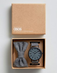 Asos Watch And Bowtie Gift Set In Charcoal Grey