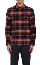 Tomorrowland Men's Tartan Cotton Flannel Shirt Red