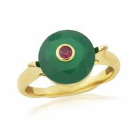 Maiko Nagayama Green Agate And Ruby Ring Red Blue Gold