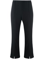 By Malene Birger 'Glossy' Flared Cropped Trousers Black