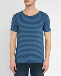 Knowledge Cotton Apparel Navy Blue Striped T Shirt