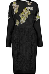 Michael Van Der Ham Annabel Embellished Silk Blend And Matelasse Dress Black