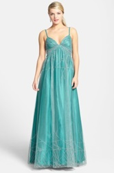 Hailey Logan 'Ariana' Back Cutout Glitter Ballgown Juniors Green