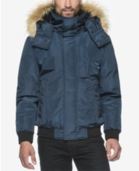Marc New York Knox Memory Bomber Jacket With Faux Fur Hood Ink