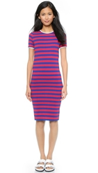 Harvey Faircloth Fitted T Shirt Dress Red Stripe