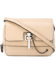 Carven Pin Clasp Crossbody Bag Nude Neutrals