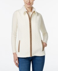 Alfred Dunner Faux Fur Collar Jacquard Vest Ivory
