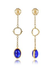 Roberto Cavalli Rc Line Gold Tone Earrings W Deep Blue Stone