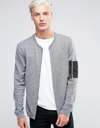 Asos Knitted Bomber With Military Pocket Styling Grey Twist