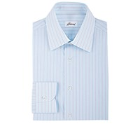 Brioni Men's Variegated Stripe Dress Shirt Turquoise