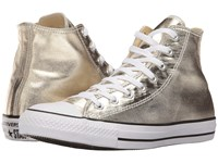 Converse Chuck Taylor All Star Metallic Canvas Hi Light Gold White Black Athletic Shoes