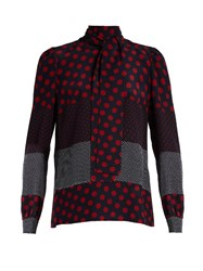 Red Valentino Polka Dot Print Silk Crepe Blouse Red Multi