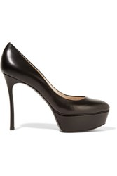 Casadei Leather Platform Pumps Black