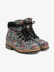 Tabitha Simmons Bexley Floral Print Leather Hiking Boots Multi Coloured Almond Black