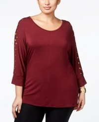 Belldini Plus Size Grommeted Dolman Sleeve Tunic Top Black Cherry Gold