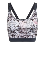 Elle Sport Strappy Racerback Removable Cup Bra Top Black White
