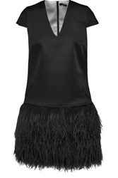 Raoul Lila Feather Trimmed Satin Mini Dress Black