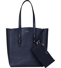 Aspinal Of London Essential Pebbled Leather Tote Bag Navy