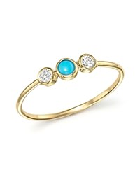 Zoe Chicco 14K Yellow Gold Bezel Set Ring With Turquoise And Diamonds Blue Gold
