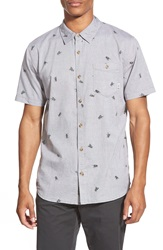 Vans 'Bason' Short Sleeve Print Oxford Shirt Graphite Grey