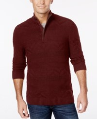 Tasso Elba Men's Quarter Zip Mixed Stitch Sweater Only At Macy's Port