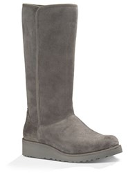 Ugg Kara Sheepskin And Suede Mid Calf Boots Grey