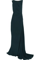 Maria Grachvogel Hitchcock Draped Crepe Gown Blue