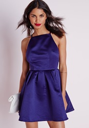 Missguided Satin High Neck Box Pleat Skater Dress Navy Blue