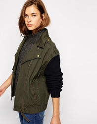Mbym Jacket With Contrast Sleeves 441Militarygreen